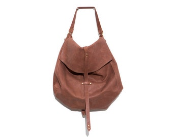Carryall Fine Leather Purse, Large Brown Sack Bag Everyday Use, Oversized Womens Hobo Bag Over the Shoulder, Handcrafted Fine Leather Bag