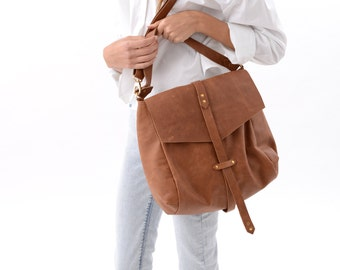 Genuine Leather Everyday Handbag, Mini Hobo Bag in Classic Brown, Neutral Handcrafted Casual Purse for Work or School, Leather Caryall Bag