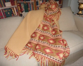 Tribal Aztec Throw Blanket, One of a Kind, Tucson Gold Red
