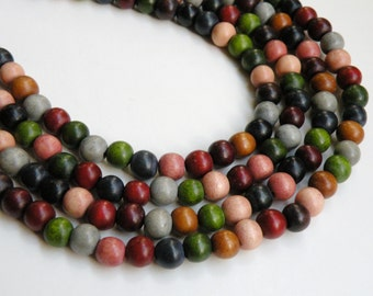 Fall colors wood beads round earth tones cheesewood 8mm eco-friendly full strand 9700NB