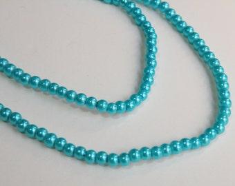 Peacock Blue glass pearl beads bright aqua blue round 4mm full strand 9860GL
