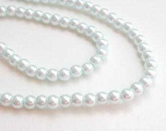 Light blue glass pearl beads round 6mm full strand 7746GB