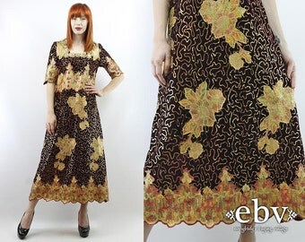 Vintage 80s Maroon Embroidered Sequin Maxi Dress M L Sequin Dress Cocktail Dress Glam Dress Party Dress Embroidered Dress Christmas Dress
