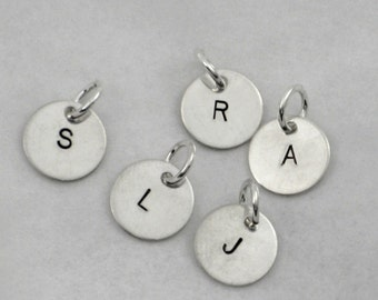 ONE (1) Sterling Silver INITIAL CHARM Hand Stamped Charm - Choose your Initial One Charm Only - Add On Initial Charm - Little Initial Charm