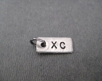 ONE (1) XC Cross Country Pendant Only - Hand Hammered Nickel Silver Add On Pendant - XC - Cross Country Charm
