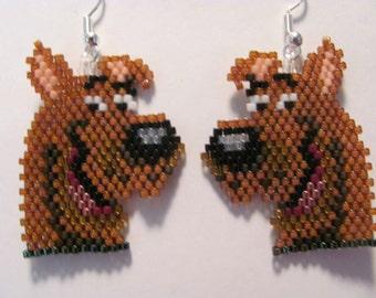 Hand Beaded Scooby Doo dog earrings