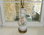 Vintage White Glass Bedroom Lamp w/Hand Painted Flowers