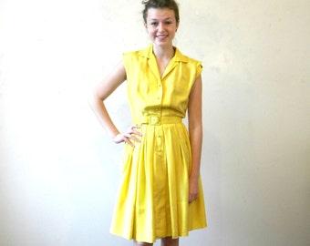 60s Yellow Silk Secretary Dress / Pleated Full Skirt Sleeveless Shirtdress / Mad Men Medium INCLUDES SHIPPING