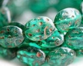 Picasso czech beads, Glass ovals - Teal Green - ornament, large - 16x13mm - 6Pc - 1221