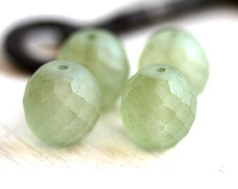 14mm Czech Glass round beads - Frozen light Antique Green, matte finish - fire polished, large - 4Pc - 2420