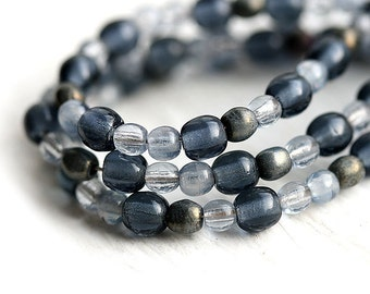 Mystic Grey czech glass beads mix for jewelry making - round spacers, druk, small, metallic - 4-3mm - approx.180Pc - 1290