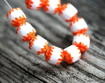 Czech glass Cathedral beads - White with Orange ends - fire polished, round,  spacers - 6mm - 10Pc - 0872