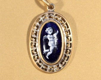 Antique Pendant Necklace Gold Tone Pendant Enamel Pendant Putti Pendant Gold Tone Chain French Victorian Jewelry