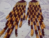 Gryffindor House Colors, Checkerboard Seed Bead Earrings.