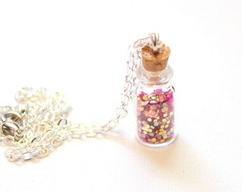 Glitter Bottle Chain Necklace Sparkle Gold and Pink