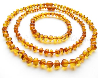 Baltic Amber Baby Teething Set for Baby and Mommy, Cognac Color Rounded Beads