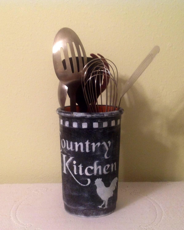 Rooster Black White Utensil Holder Kitchen Decor Country
