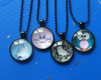 Owl Pendants! Owl Photo, Glass Cabochon, Black Case, Pendants! Girls Gifts, Teen Gifts, Unisex Gifts, Birthday Gifts, Holiday Gifts