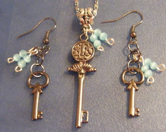 Key Charm, Jewelry Set! Game of Thrones Inspired, Black Key, Blue Crystal, 2 pc. Jewelry Set! Birthday Gift, Holiday Gift, Gift for Her