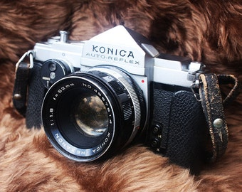 Konica Auto-Reflex Film Camera and Flash - Made in Japan 1965