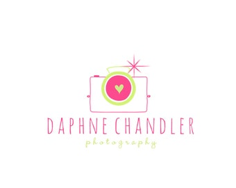 Custom Logo Designer Premade Logo Design and Watermark for Photographers and Small Crafty Boutiques Hand Drawn Camera with Sparkle Flash