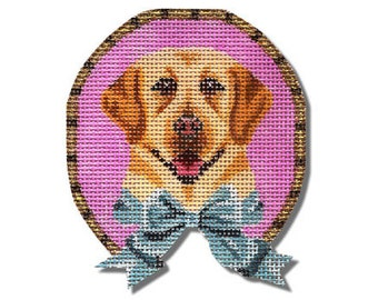 Needlepoint Dog Canvas - Small Yellow Labrador Vignette