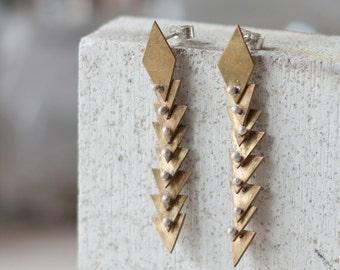 Earrings - Sterling silver and brass geometrical stud dangle - handmade metalwork
