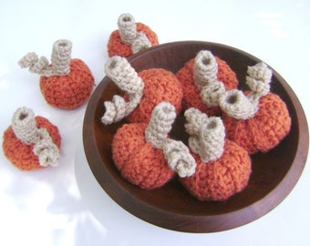 Crochet Pumpkin Burnt Orange Fall Halloween Thanksgiving Decoration Bowl Filler Tiny Set of 8
