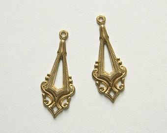 Raw Brass Stamping, Earring Dangle, Navette Drop, Brass Pendant 12mm x 31mm - 6 pcs. (r102)
