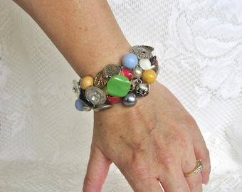 Vintage Button Bracelet Boho Bracelet Funky Bracelet