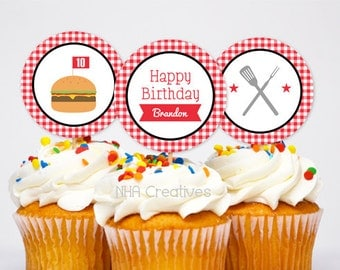 Personalized Barbecue Birthday Cupcake Toppers - DIY Printable Digital File