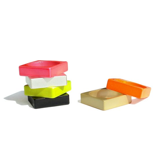 Anniversary SALE - Mix & Match Color Block Square Ring