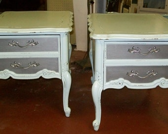 Shabby Painted French End Tables / Nightstands  Silver Metallic Lightly Distressed