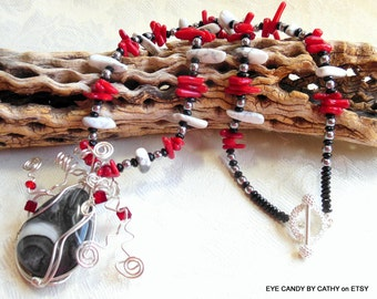 Wire wrapped pendant necklace, black, red and white necklace, argentium sterling silver necklace, red coral, black onyx, howlite, toggle