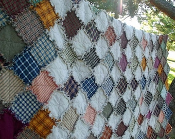 Queen Sized Diamond Rag Quilt, Made To Order, Homemade Quilts, Patchwork Quilt, Handmade Quilt, Rustic Quilt, Primitive Quilt, Farmhouse