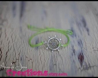 Ship Wheel Charm Bracelet - Lime Green - Slip Knot