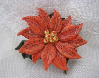 Vintage 60's Plastic Poinsettia & Holly Pin