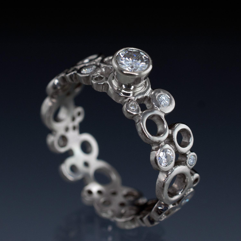 Unique Bubble Moissanite Engagement Ring Cluster Bezel Set