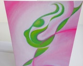 Dancing Sprite in Pink and Green, 5 x 7, from abstract surreal painting by Tiffinity Art