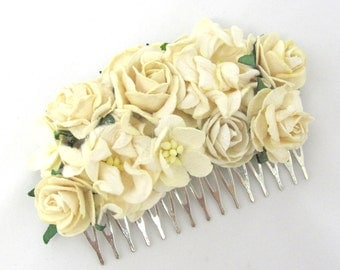 Ivory Floral Haircomb Flower Fascinator Vintage Wedding Party Bridal Accessory Bridesmaid statement