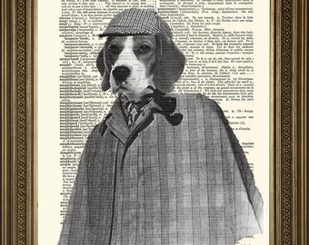 "SHERLOCK HOLMES PRINT: Beagle Dog Detective Portrait - Original Vintage Novelty Dictionary Page Art Wall Hanging (8 x 10"")"