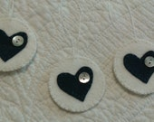 Penny rug ornament set, 3 round Christmas ornaments, circle ornaments, felt ornaments, felt heart ornaments, teal hearts,  button ornaments