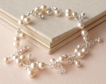 Pearl Bracelet Wedding Jewelry Cluster Bracelet Crystal Bridal Jewellery Bridesmaid Gift Ivory Pearls etsy uk Charm