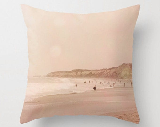 Sunset Bokeh, California Coast, Shoreline, Home Decor Throw Pillow - Beach Summer House Decor - 2 sizes available