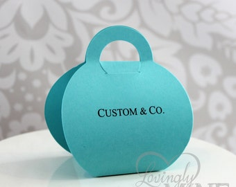 Purse Shaped Favor Bags - Set of 12 - Light Teal, Aqua, Robins Egg Blue - Designer Inspired