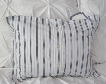 Pillow Men's Dress Shirt White with Navy Stripes Home Decor, For the Home Decorator Pillow Bedroom Accent