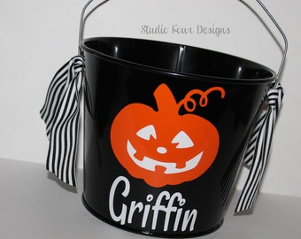 Personalized Halloween Bucket - Many colors and designs available