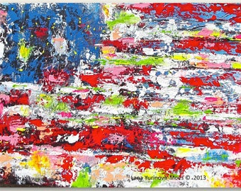 American Flag Abstract Art Print on Canvas, Contemporary Home Decor Americana, Red White and Blue, Beach Home Decor, Modern Art Home Decor