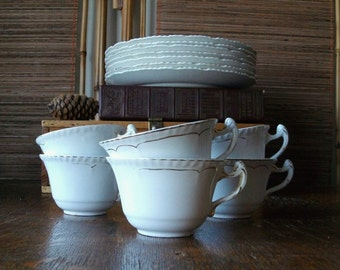 6 Antique White Cups with Gold Rims - Cottage Chic - John Maddock & Sons England