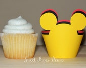 36 Mickey Mouse Cupcake Wrappers - Cardstock (Red, Black, Yellow) (Disney, Cartoon, Minnie and Mickey, Mickey Ears, Mouse Ears, Theme, Bday)